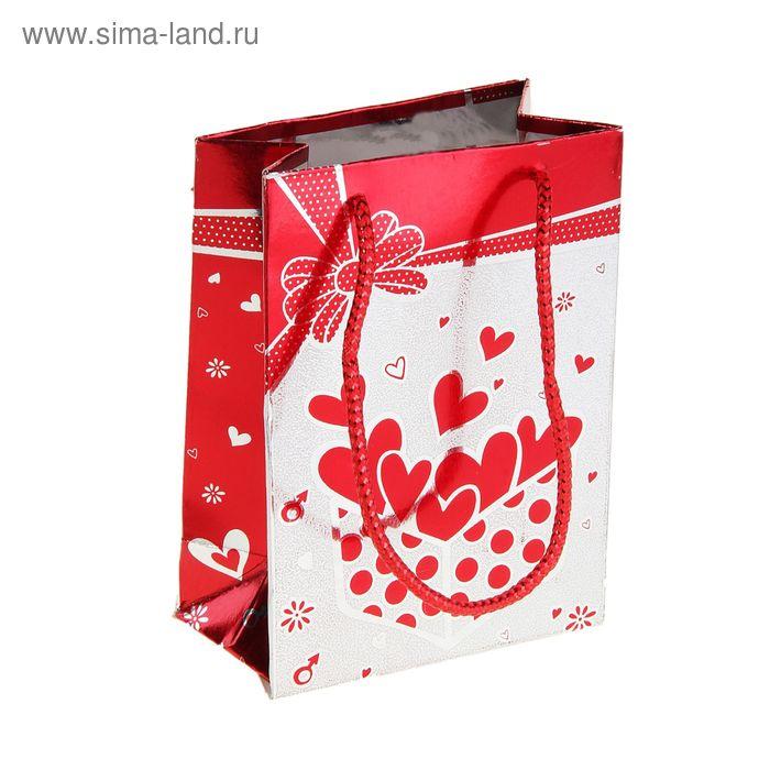 """Пакет голографический """"Сердечки в коробке"""", цвет красный"""