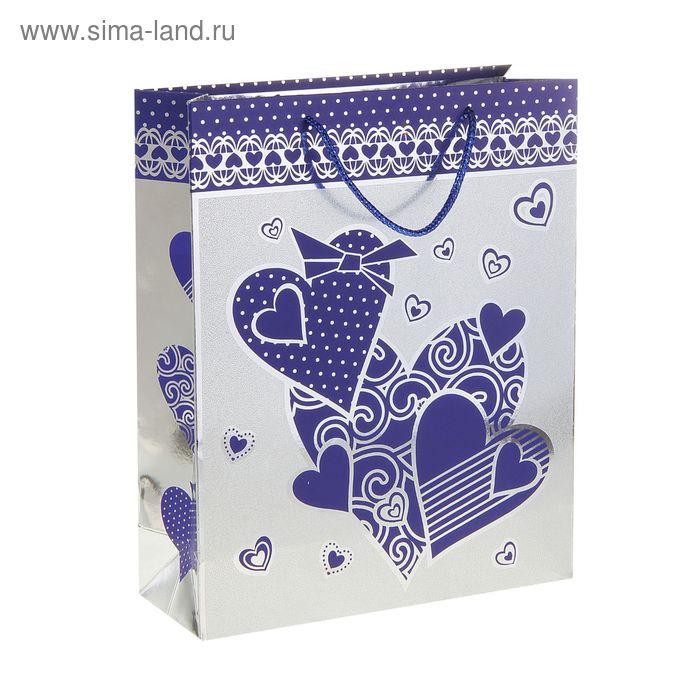 """Пакет голографический """"Крупные сердца"""", цвет синий"""