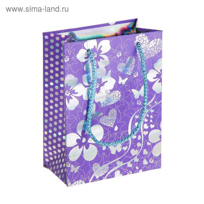 """Пакет голографический """"Сад цветов"""", цвет фиолетовый"""
