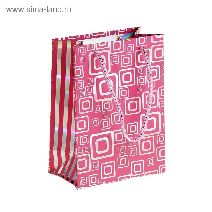 """Пакет голографический """"Квадратики"""", цвет розовый"""