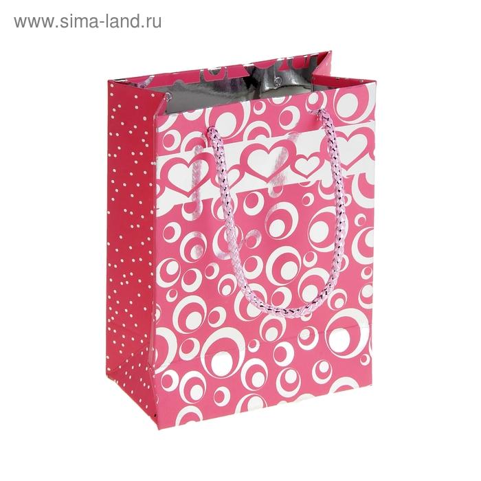"""Пакет голографический """"Кружки и сердца"""", цвет розовый"""