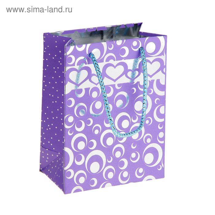 """Пакет голографический """"Кружки и сердца"""", цвет фиолетовый"""