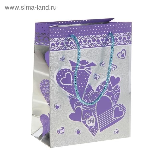 """Пакет голографический """"Крупные сердца"""", цвет фиолетовый"""