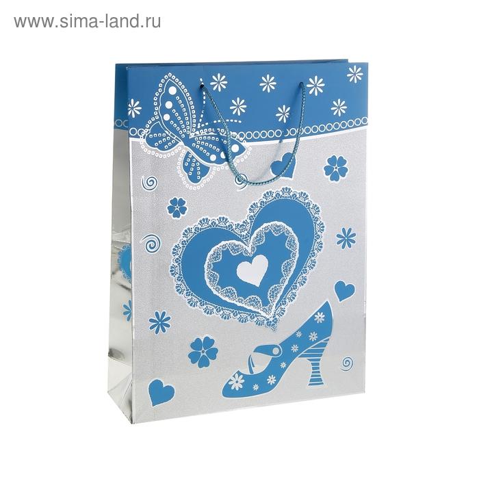 """Пакет голографический """"Сердце и туфелька"""", цвет голубой"""