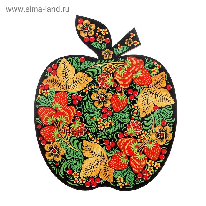 """Доска  кухонная """"Клубника"""" Хохлома  в форме яблока"""