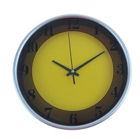 Часы настенные круглые 'Два цвета', d=24,5 см, жёлто-коричневые Ош