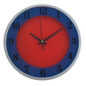 Часы настенные круглые 'Два цвета', d=24,5 см, красно-синие Ош