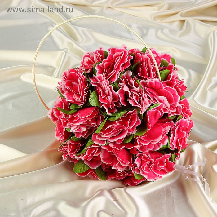 Шар из искусственных цветов желто-розовый с хрустальными кристаллами, диам 28 см, 40 роз