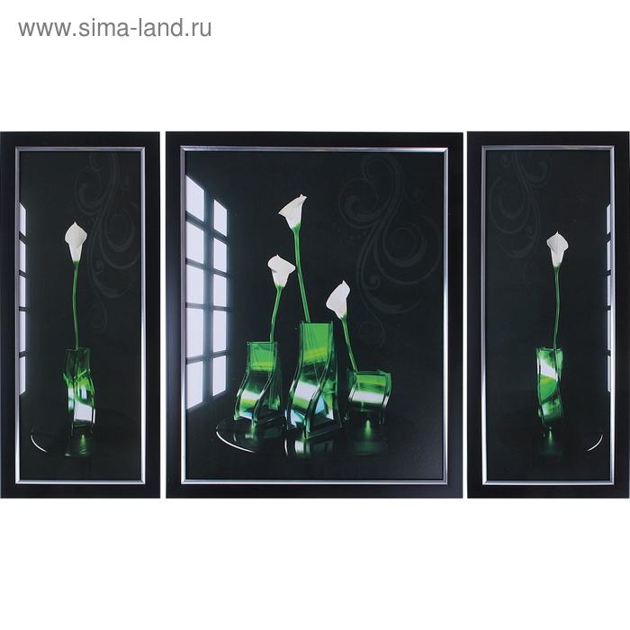 """Модульная картина в раме """"Каллы в стеклянной вазе"""""""