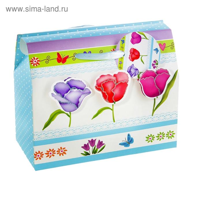 """Коробка-сундучок """"Тюльпаны"""", цвет голубой"""