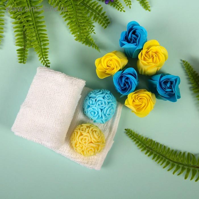"""Набор подарочный """"Гармония"""": мыльные лепестки (набор 6 шт), мыло сувенирное 60 гр., полотенце 30х30 см., цвета МИКС"""