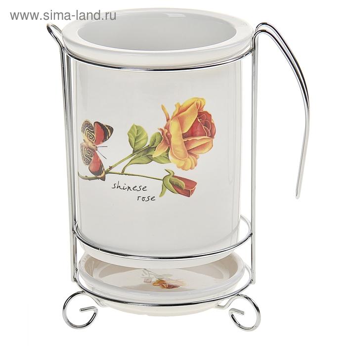 """Подставка для столовых приборов """"Роза чайная с бабочкой"""""""