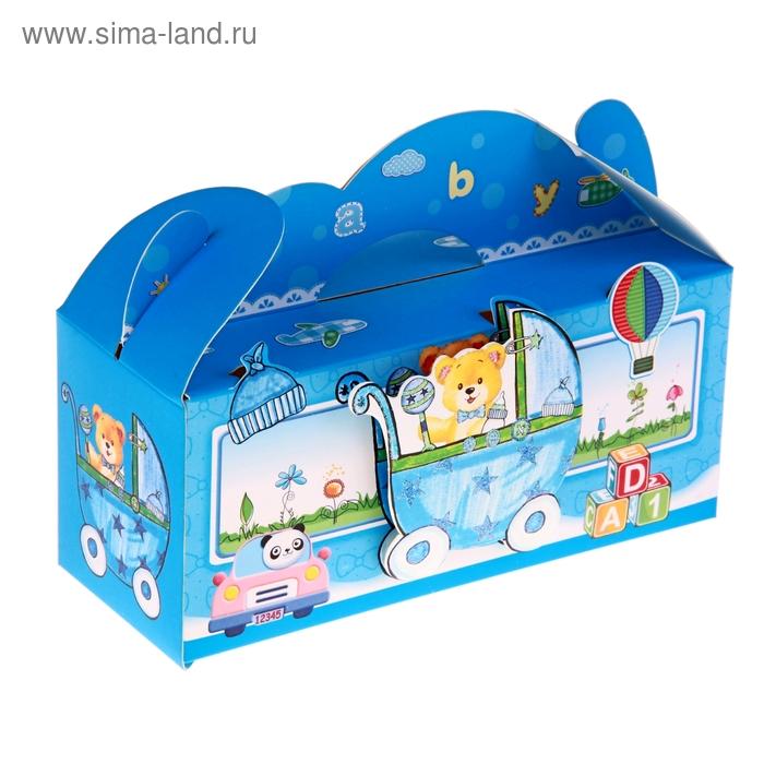 """Коробка сборная """"Мишка и панда"""", цвет голубой"""