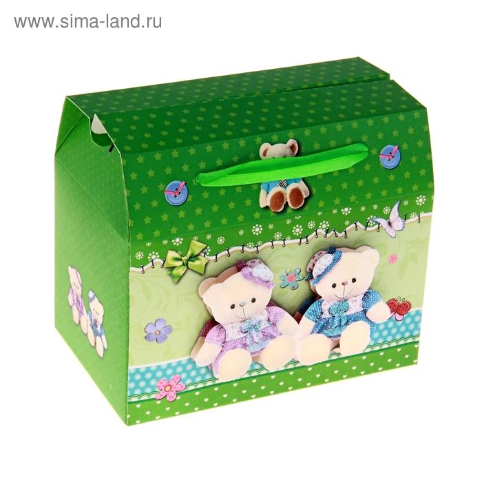 """Коробка-сундучок """"Мишки. Сладкая парочка"""", цвет зелёный"""