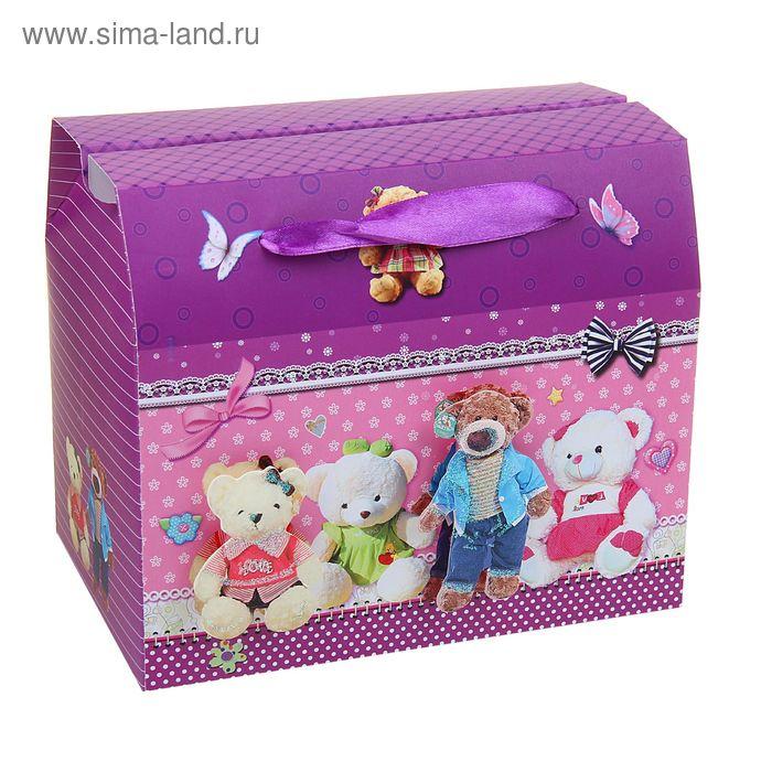"""Коробка-сундучок """"Мишки"""", цвет розовый"""