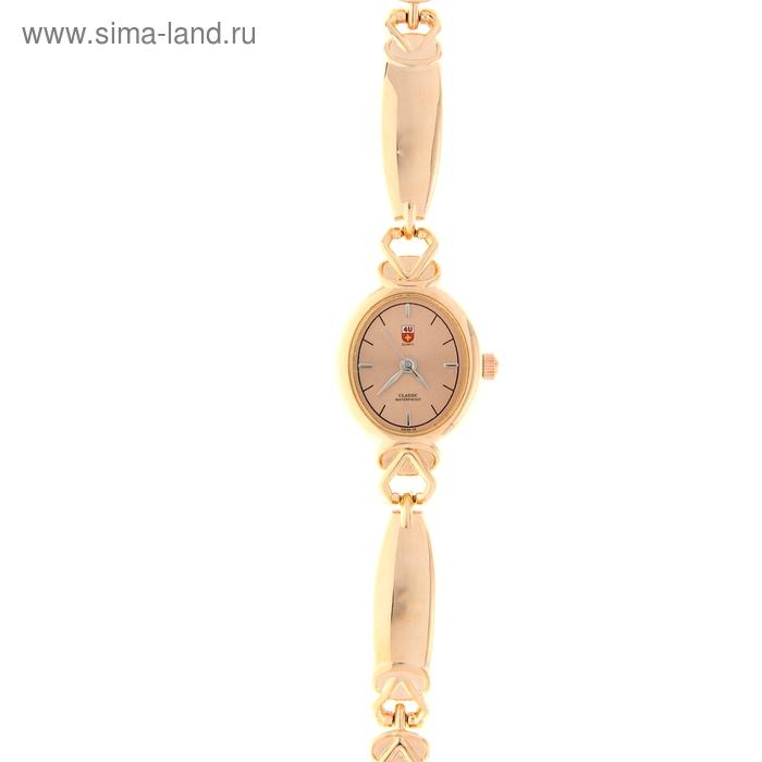 Часы наручные женские Swiss, темный циферблат, золотистый браслет