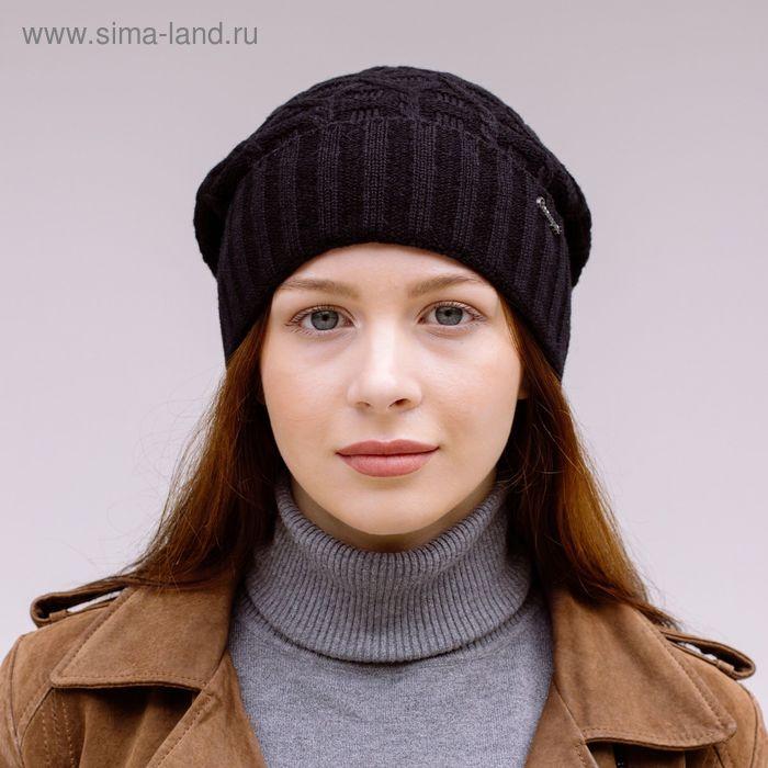Шапка женская 419-001  ДАНА  демисезонная, р-р 56, цвет черный