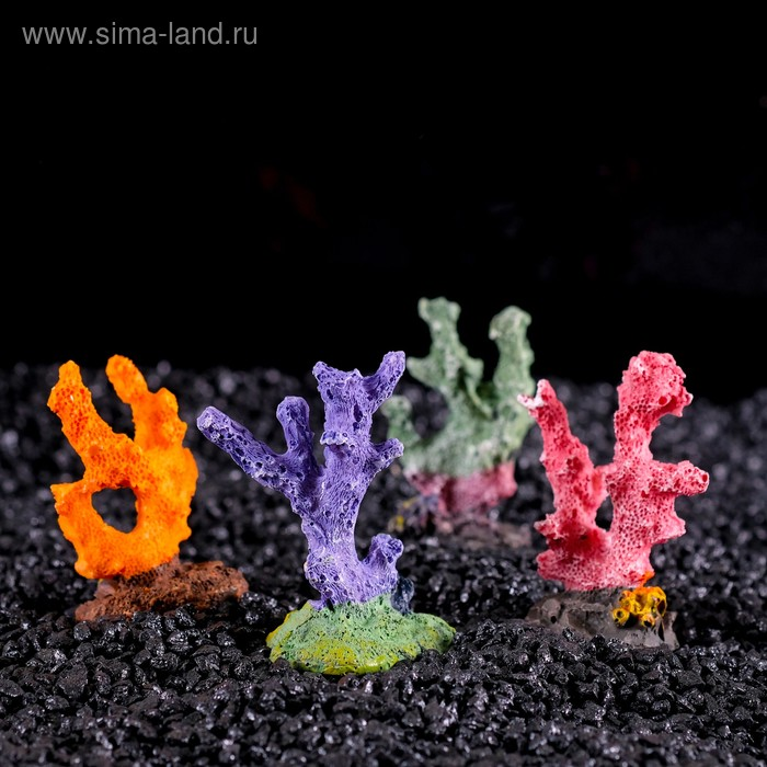 """Декор для аквариума """"Коралл"""" малый, 6 х 3,5 х 8,5 см, микс видов"""