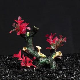 "Декор для аквариума ""Коряга"" с растениями, 15 х 7 х 16,5 см"