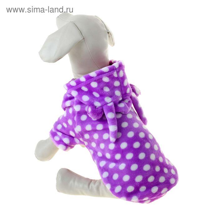 Плюшевая курточка с ушками, размер XL (длина спинки 33, обхват груди 48 см), фиолетовая в белый горох