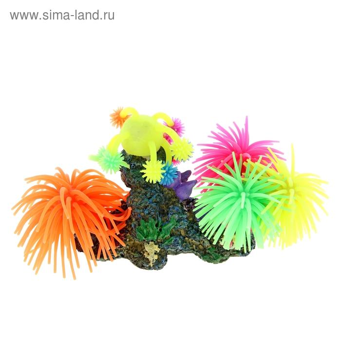 Декоративная композиция для аквариума с силиконовыми кораллами, 15,5 х 12 х 15 см