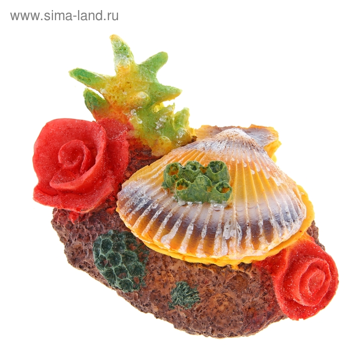 """Декор для аквариума """"Раковина и кораллы"""" с распылителем, 13,5 х 9 х 9 см"""