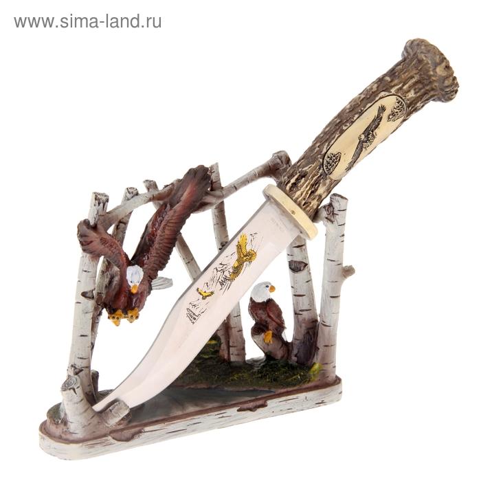 """Нож сувенирный на подставке """"Орлы среди деревьев"""""""