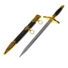 Сувенирный кортик, 40 см, на ножнах накладки, 2 кольца, на лезвии узор, чёрный с золотистым