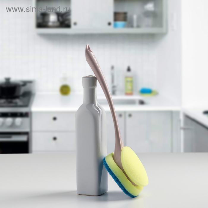 """Щетка с губкой для посуды """"Ориджинал"""", цвет бирюза"""