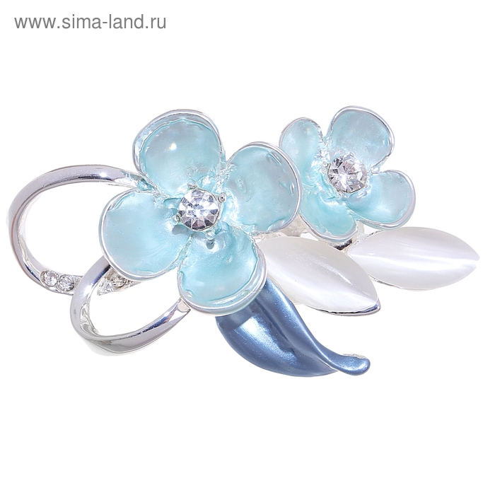 """Брошь """"Цветы яблони"""", цвет голубо-белый"""