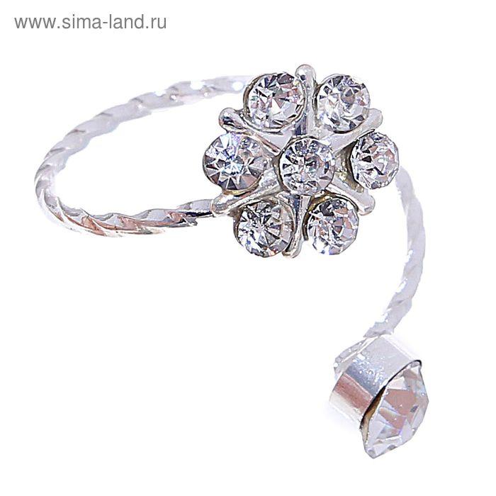 "Кольцо на фалангу ""Цветок"", цвет серебро, размер МИКС"