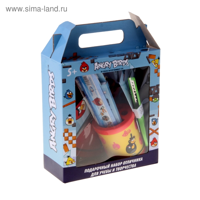 """Набор отличника """"Angry Birds"""", 9 предметов в подарочной коробке"""