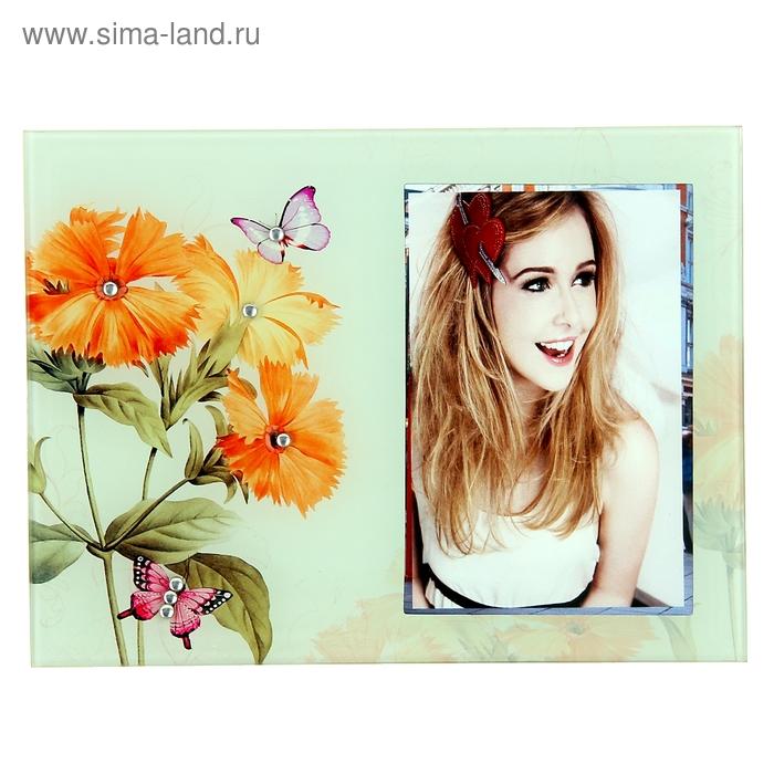 """Фоторамка """"Оранжевые цветы"""" со стразами, 9х13 см"""