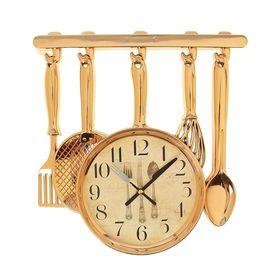 """Часы настенные кухонные """"Столовые приборы"""", на циферблате нож, вилка, ложка, золотистые"""