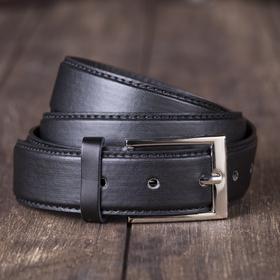 Ремень мужской гладкий, винт, пряжка под металл МИКС, ширина - 3,5см, чёрный Ош
