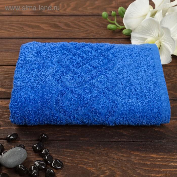 Полотенце махровое жаккард Plait, размер 50х90 см, 360 гр/м2, цвет синий