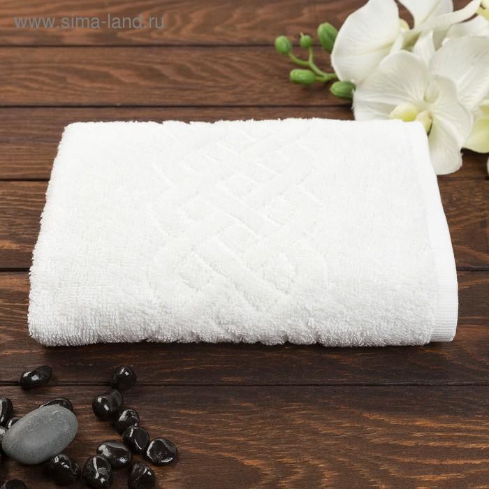 Полотенце махровое жаккард Plait, размер 50х90 см, 360 гр/м2, цвет белый