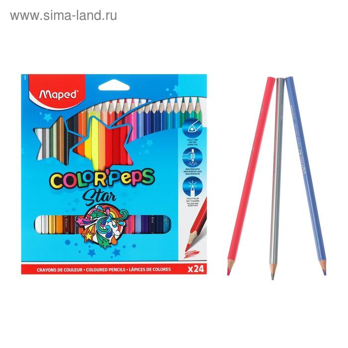 Карандаши трехгранные 24 цвета Color Peps