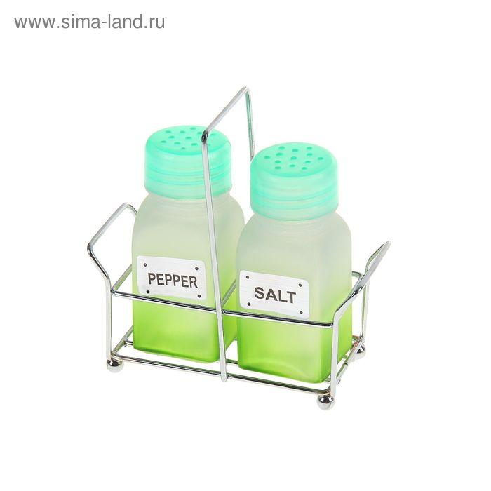 """Набор для специй на подставке """"Омбре"""" 50 мл, 2 предмета, зеленый"""