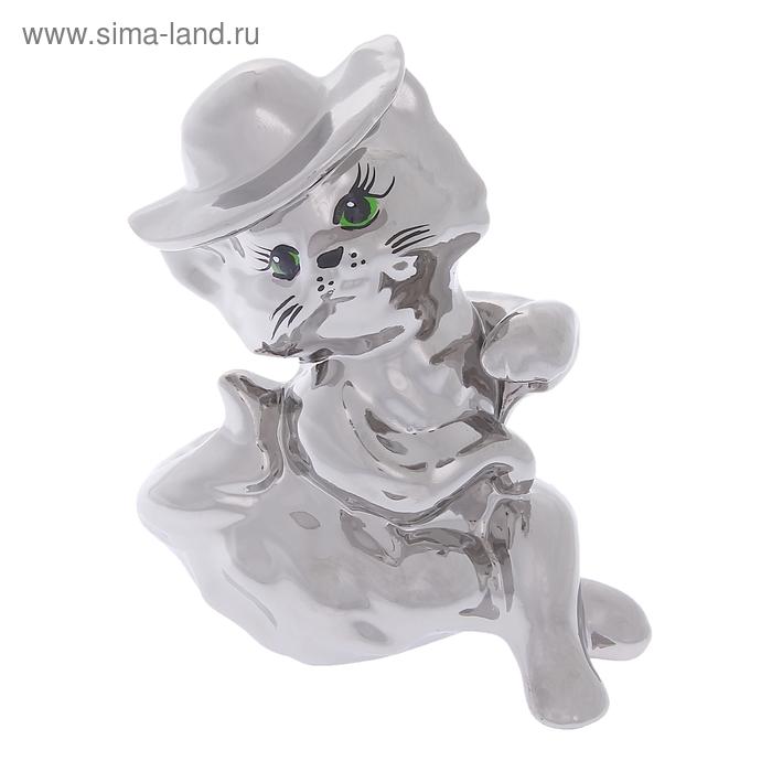 "Копилка ""Кошка мадам"" булат, серебро"