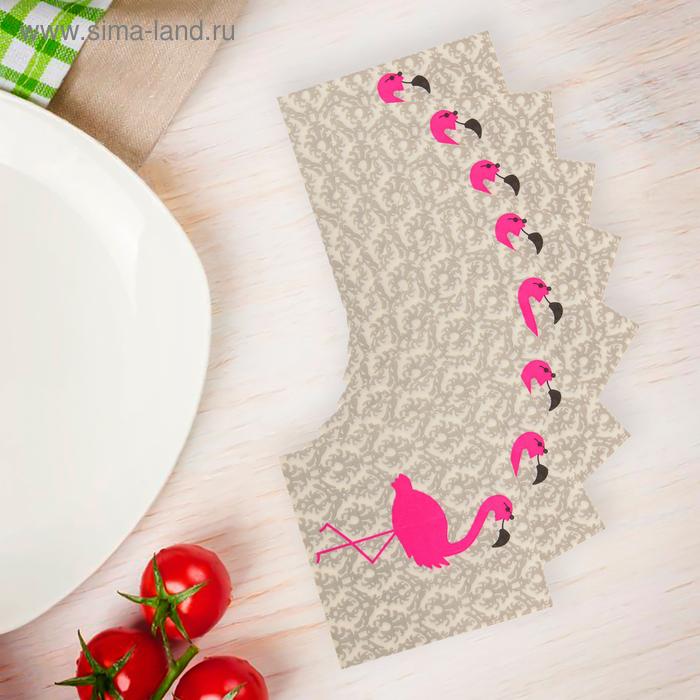 """Салфетки бумажные (набор 20 шт) """"Розовый фламинго"""" 33*33 см, цвет серый"""