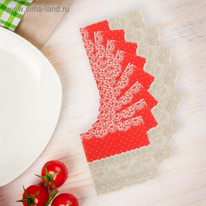 """Салфетки бумажные (набор 20 шт) """"Орнамент"""" 33*33 см, цвет серо-красный"""