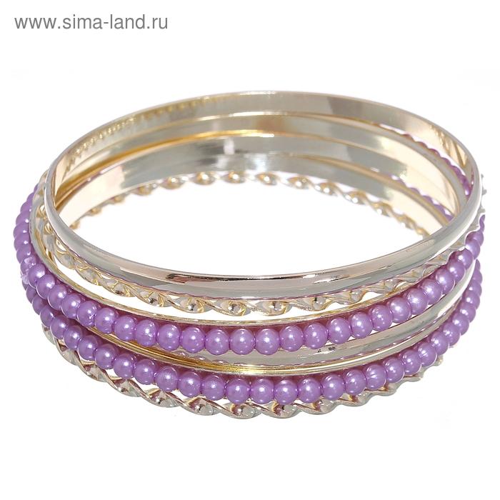 """Браслет-кольца 6 колец """"Жемчужные кольца"""", цвет сиреневый в золоте"""