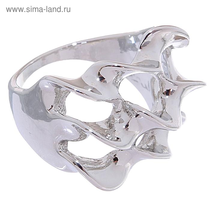 "Кольцо ""Спираль"" 3 ряда, цвет серебро, размер МИКС"