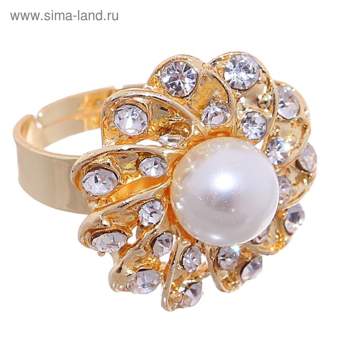 """Кольцо """"Цветок с жемчугом"""" роза, цвет белый в золоте, безразмерное"""