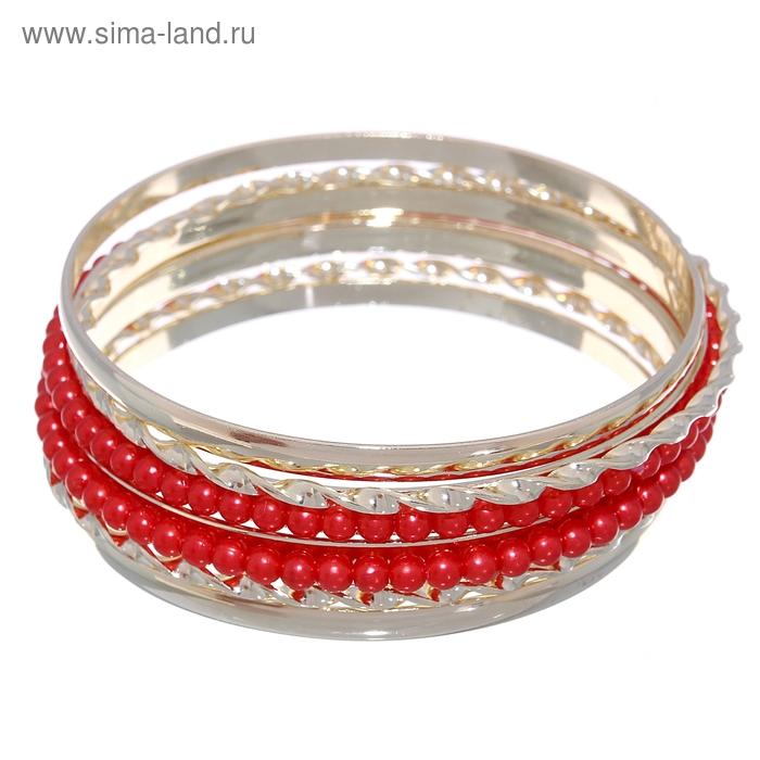 """Браслет-кольца 6 колец """"Жемчужные кольца"""", цвет красный в золоте"""