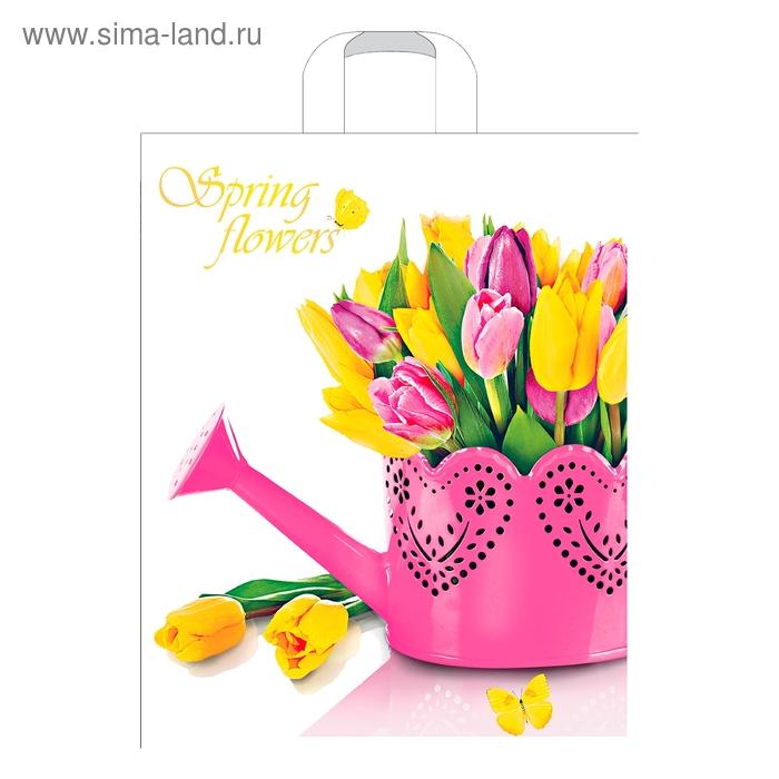 """Пакет """"Весенние цветы"""", полиэтиленовый с петлевой ручкой, 38х45 см, 45 мкм"""