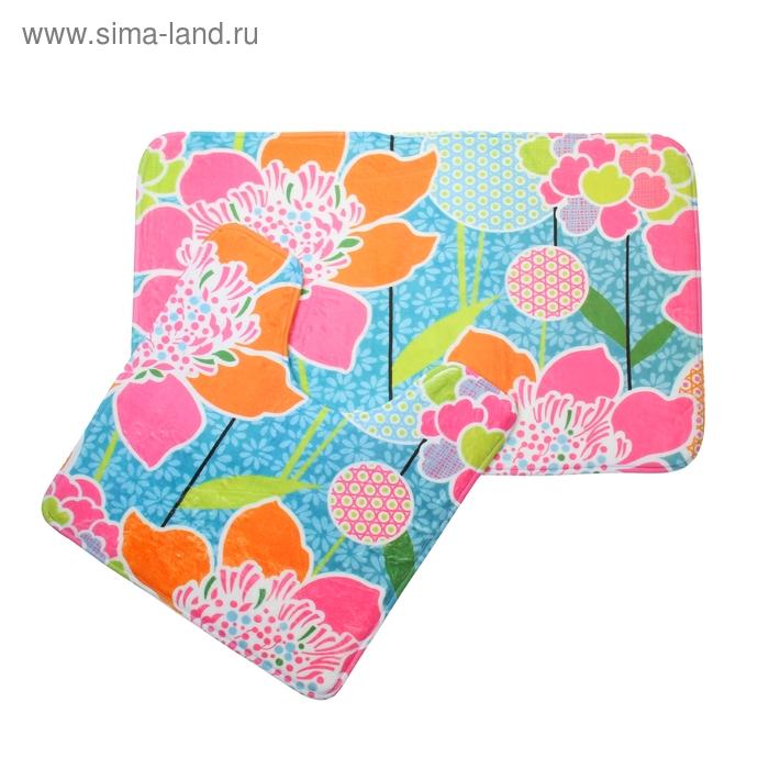 """Набор ковриков для ванной и туалета 2 шт, 50х80 см, 50х50 см """"Цветы"""""""