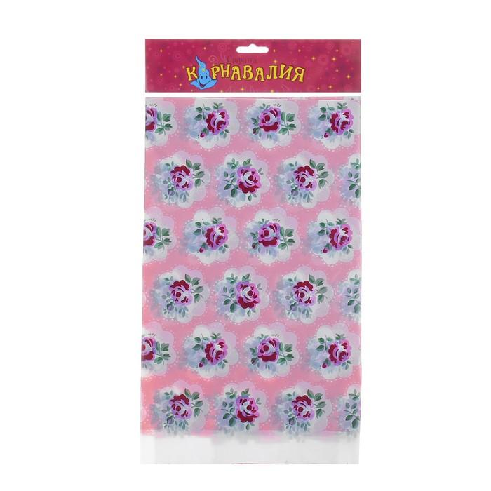"""Скатерть """"Цветы"""", цвет: розовый, 108х180 см"""