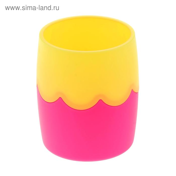 Стакан для пишущих принадлежностей двухцветный розово-желтый